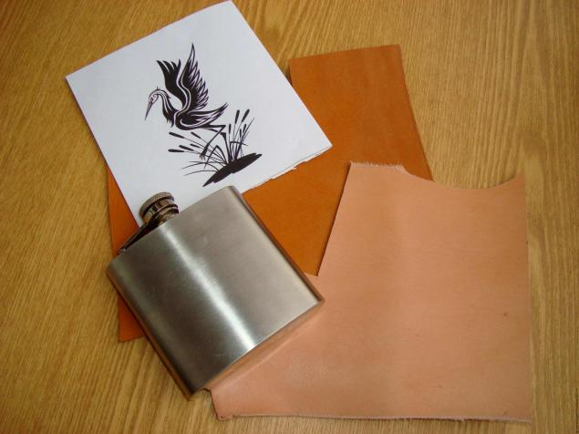 flask, leather
