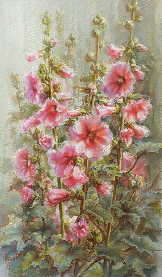 картина, новинки, новый проект, цветок мальва, мальва, шток-роза, сад цветов, заказ работ, авторская работа