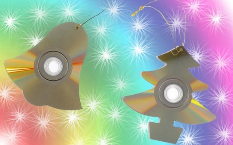 Елочные игрушки своими руками фото из дисков
