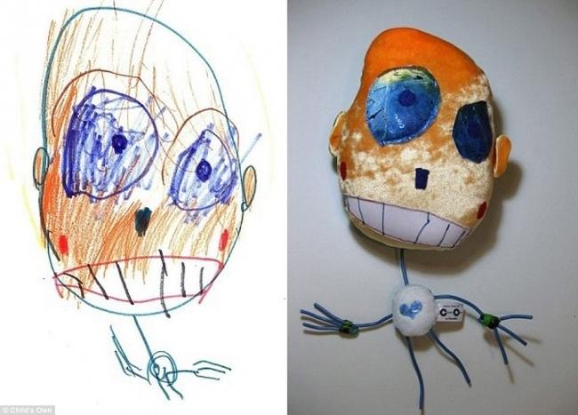 игрушки по рисункам, детские рисунки, мягкие игрушки