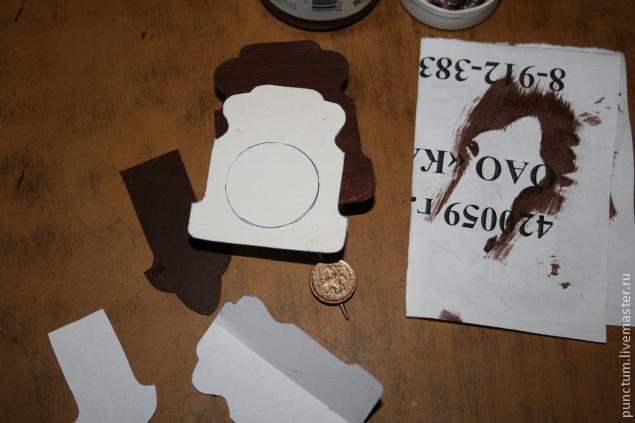 Часы-ходики из спичечного коробка в кукольный дом, фото № 4