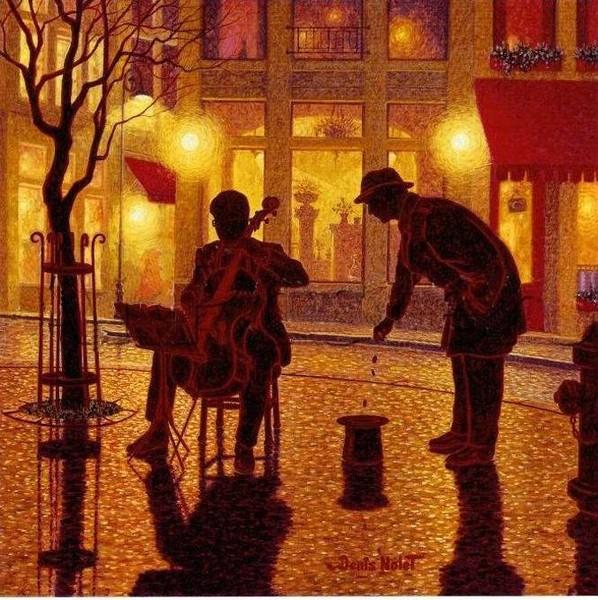 ночной город, художники