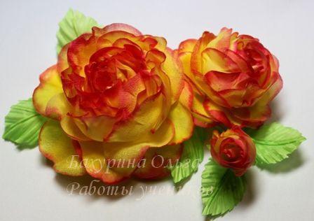 цветы из шелка, пвс