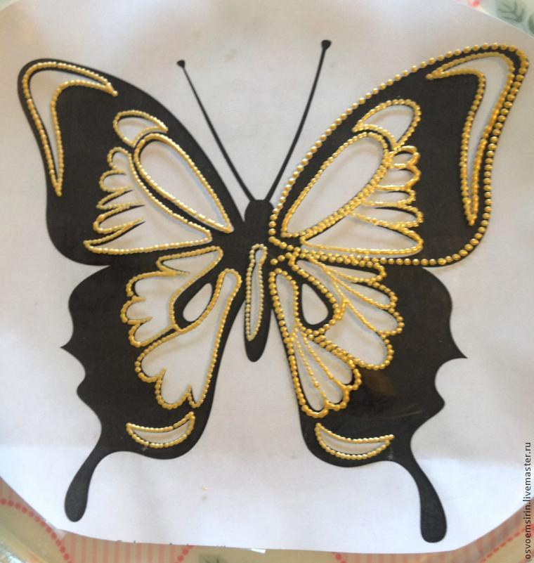 Decorating a Butterfly Plate in the Dot Painting Technique, фото № 2