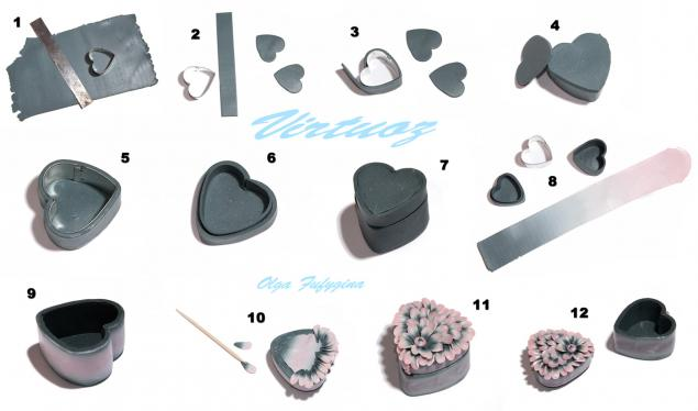 полимерная глина, уроки, пластика, шкатулка, романтика, сердце