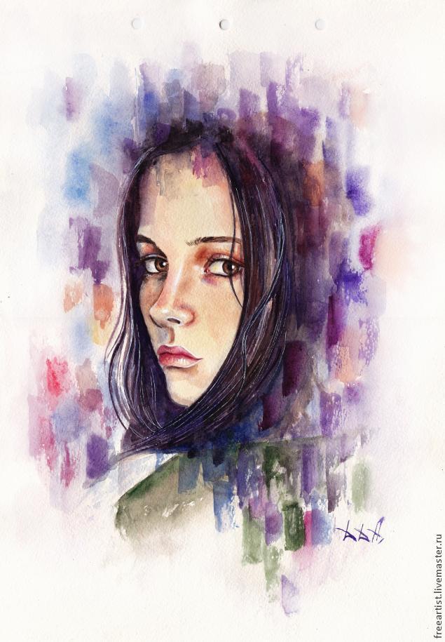 акварель, портрет, видео, мастер-класс, рисование, живопись