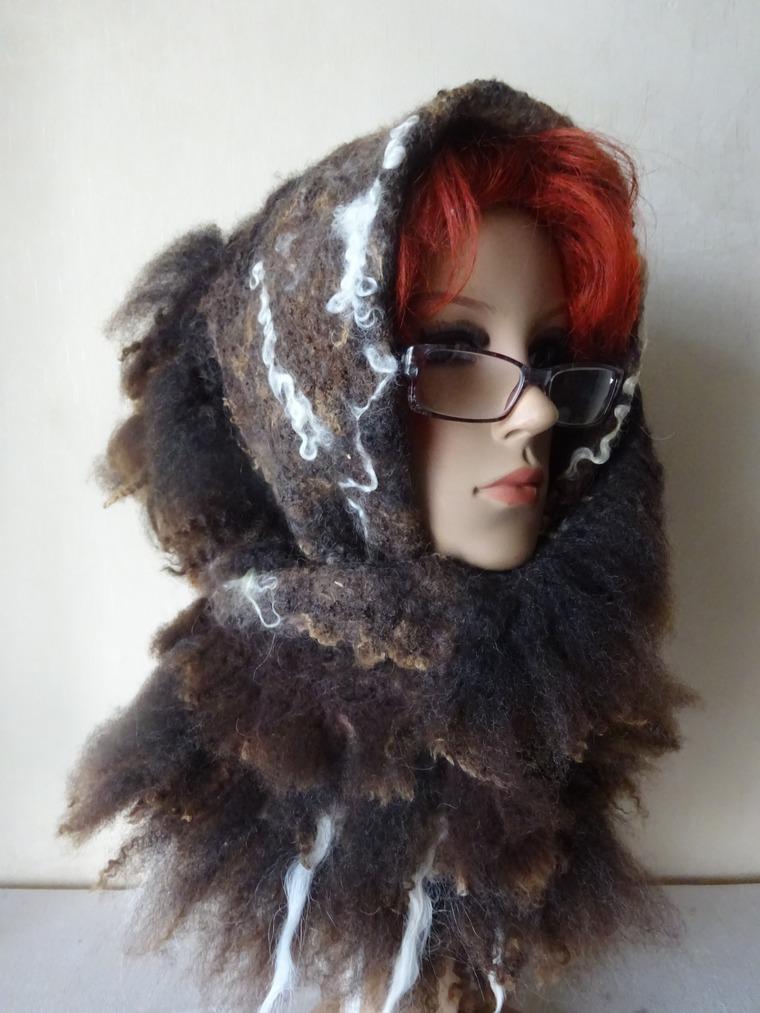 шарф валяный большой, шерсть меринос