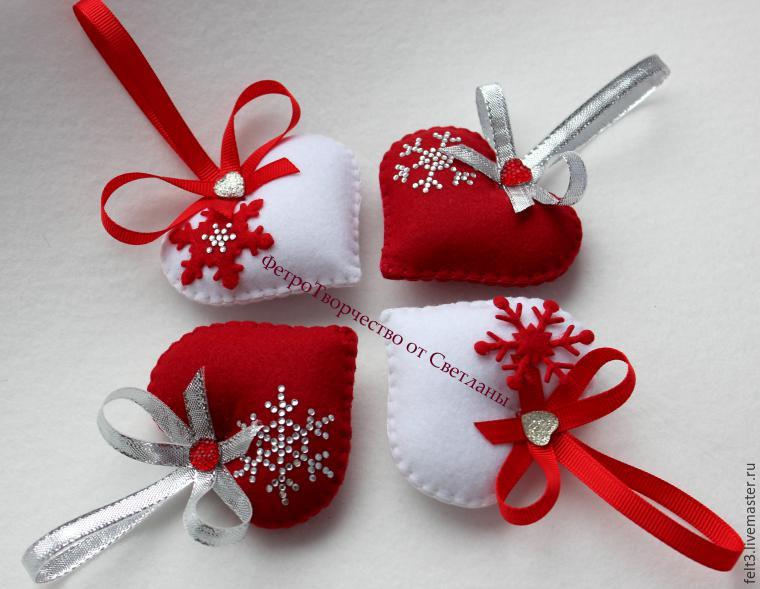 Новогодние украшения из фетры своими руками