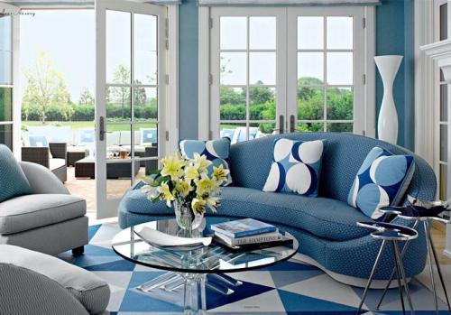Фото дизайн комнаты в голубом-синем цвете