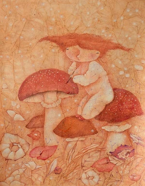 красные грибочки, мухосорчики, сказочные картины