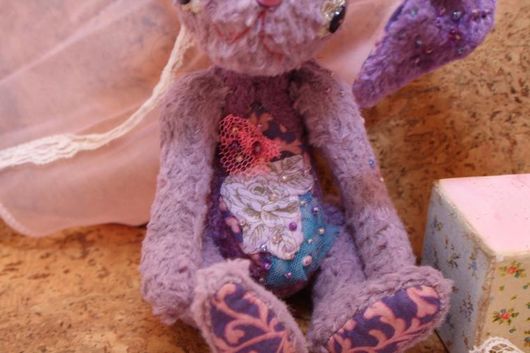 авторский мишка тедди, фиолетовый