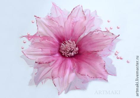 Цветы из ткани. Клематис