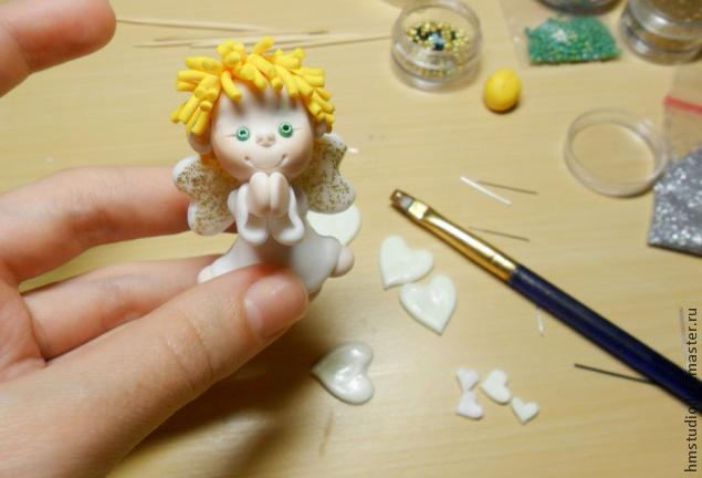 Рождественский ангел из полимерной глины, фото № 22