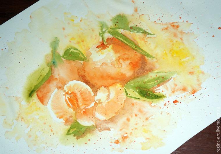 акварель, мандарины, рисование акварелью, рисуем, арт, мастре-класс по акварели