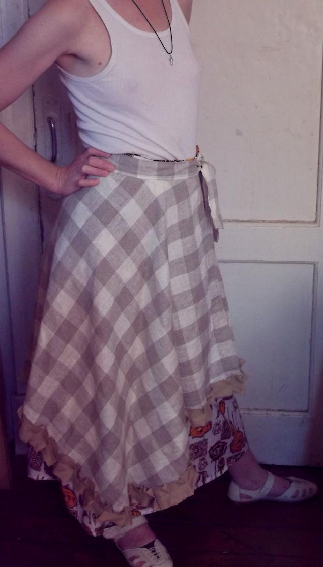 юбка кантри, фартук из льна, натуральный лен
