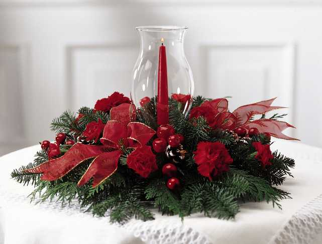 Новогодний венок на стол со свечами своими руками