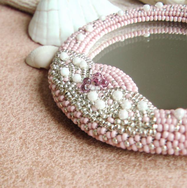 аукцион, зеркало, сувенирное зеркало, зеркало с вышивкой, вышивка бисером, зеркало с фьюзингом