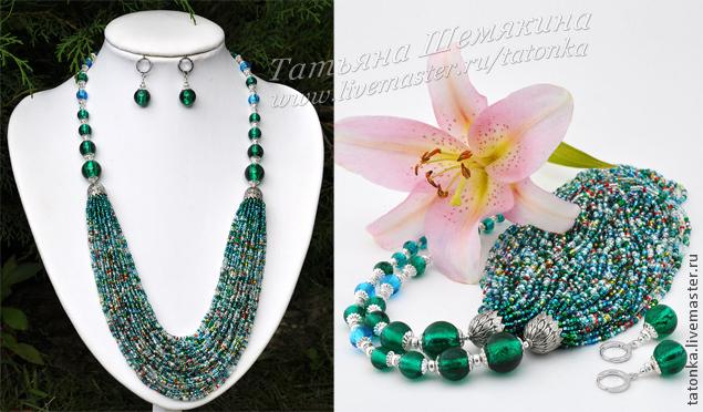 Многоярусное ожерелье из бисера своими руками