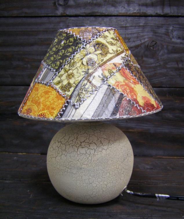 Декупажный пэчворк - имитируем лоскутное шитье! Делаем уникальную лампу!, фото № 1