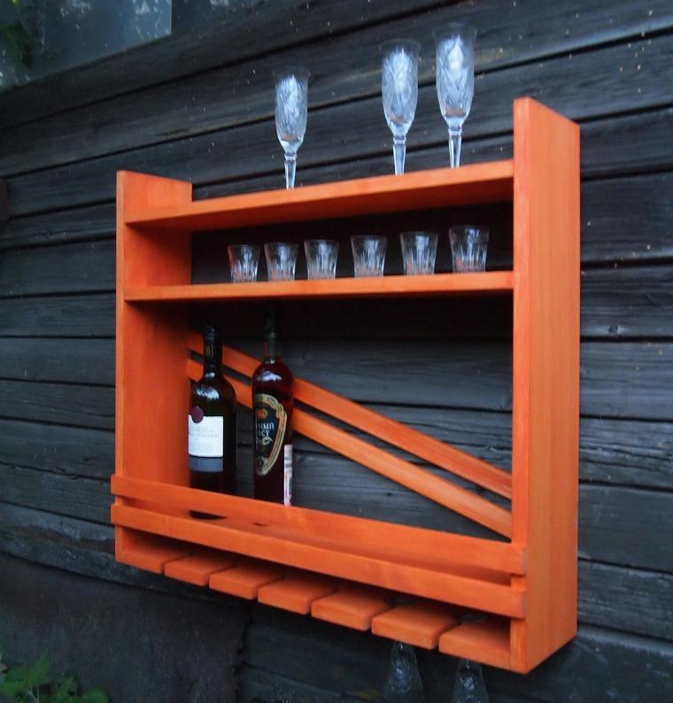 индивидуальный заказ, полка, вино, кухня, оранжевый, коньяк, массив дерева, уютный дом, мужчина, подарок