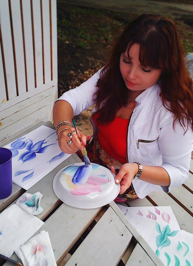 обучение живописи, роза