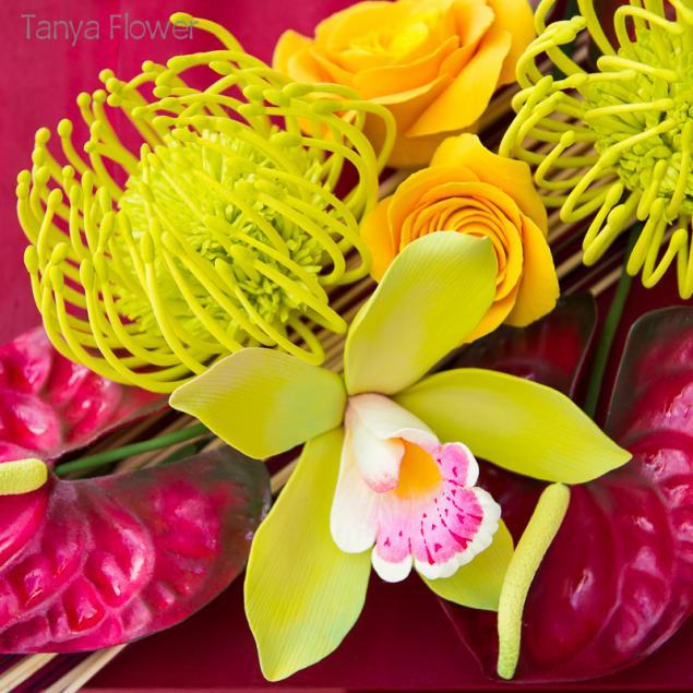 картина с цветами, цветы в интерьере, цветы из полимерной глины, тропические цветы