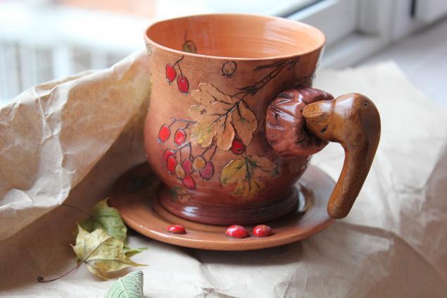 керамика, осенние листья