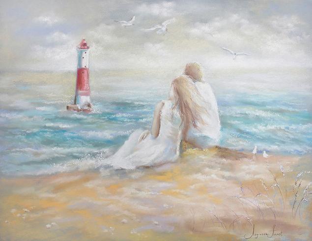 он и она, море, картины с морем, картины с влюбленными, картины пастелью