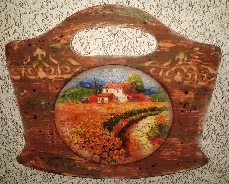 Вешалка с медальоном «Под Солнцем Тосканы». Декупаж., фото № 4