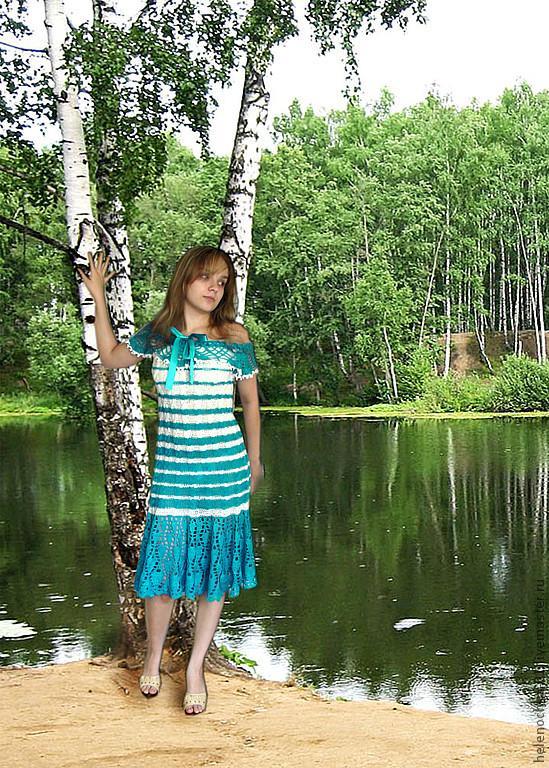 платье-сарафан вязаное, вязаное платье