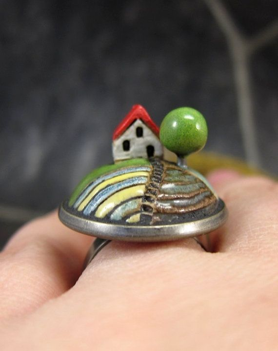 Lavender CottageMiniature Landscape Ring in Stoneware by elukka