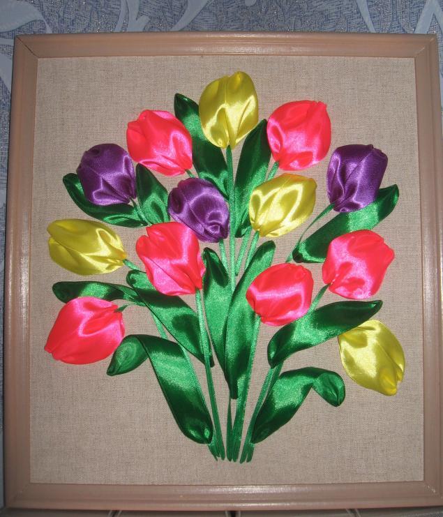 Мастер-класс тюльпаны из атласной ленты