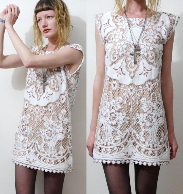 Вязаные платья с кружевом фото