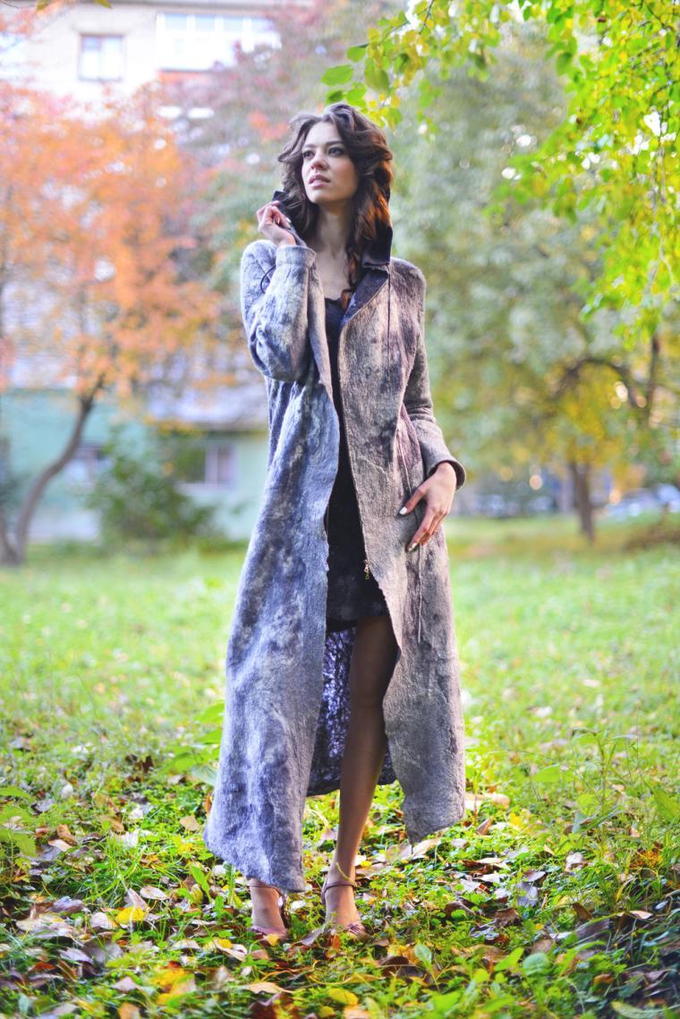 пальто, валяное пальто, войлок, одежда из войлока, фелтинг