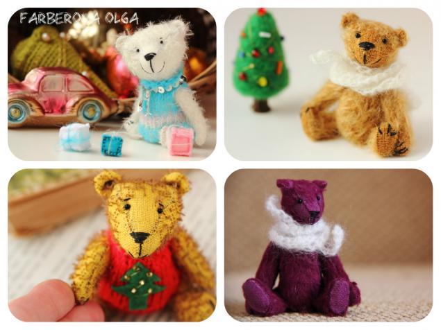 мишки тедди, фарберова ольга, подарок на новый год, авторская игрушка, миниатюра