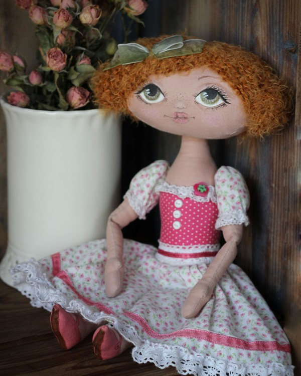 текстильная кукла, роспись по ткани