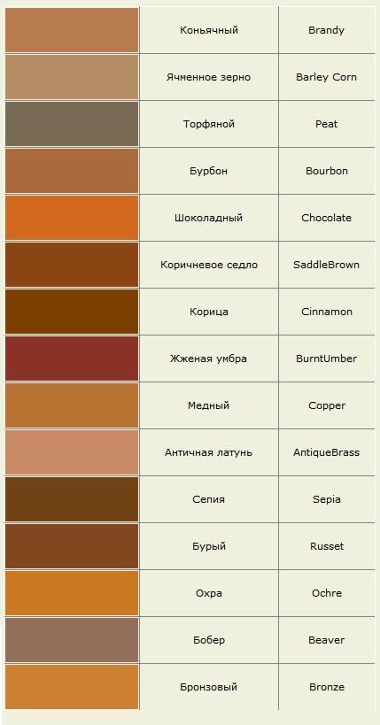 Оттенки цвета фото и названия