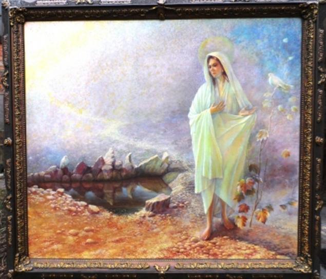картина маслом, явление марии, козарецкий, живопись маслом, картина в подарок, картина для интерьера, источник, исцеление, пожар, спасение