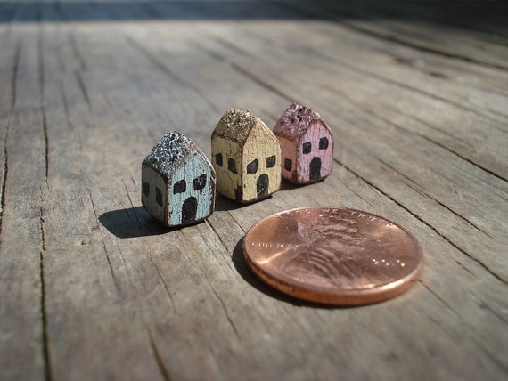 Tiny Crackled Dollhouse Miniature Houses Set by Katiesclaycorner