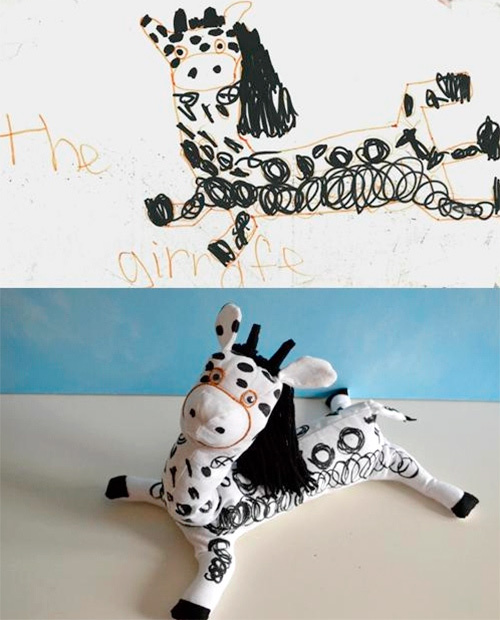 Мягкие игрушки из детских рисунков