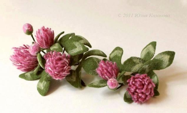 валяние на каркасе, войлок, цветы, броши