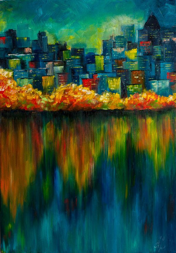 картина, город, ночь