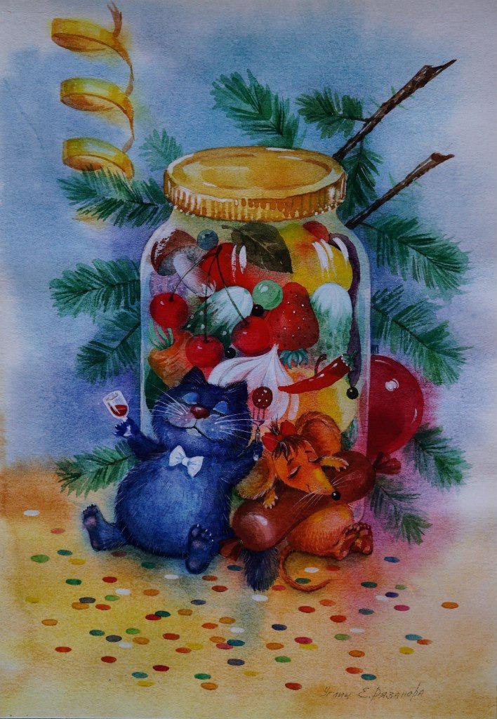 Новый год картинки акварель