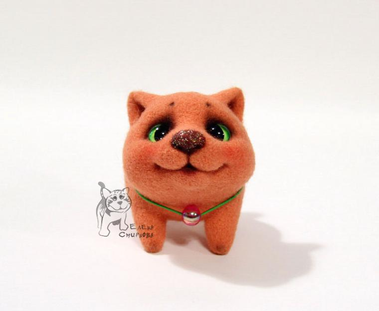 валяная игрушка, валяный котёнок