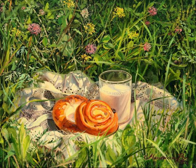 плюшки, натюрморт, деревня, лето, картина, масляная живопись, молоко, картина маслом, солнце, летний натюрморт, живопись, ватрушки, еда, цветы, зеленый, желтый