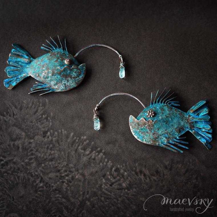морская коллекция, брошь рыба