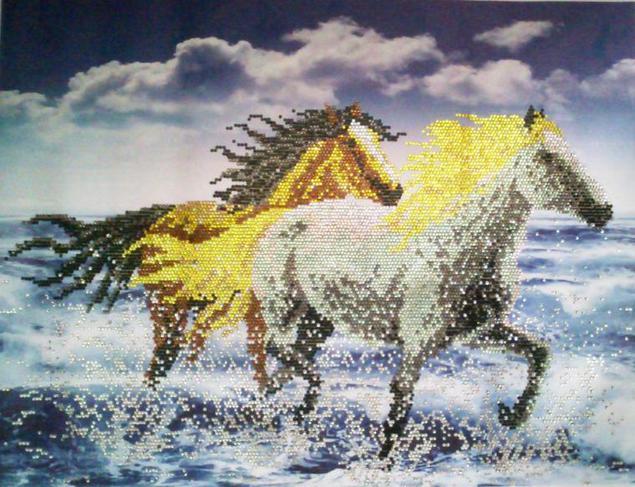 Алмазная вышивка лошадь готовая работа 64