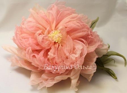 цветы из ткани, цветоделие, пион