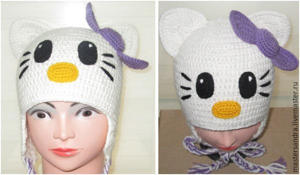 Вяжем крючком шапочку с ушками «Hello Kitty» – Ярмарка Мастеров ce59b4361c78e