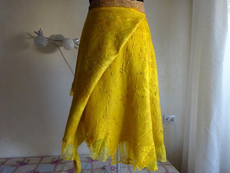 валяная юбка горчичная